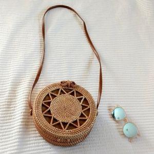 Handbags - Woven Straw Rattan Beach Circle Bag